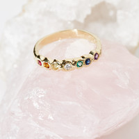 Free People 14K Rainbow Band Ring