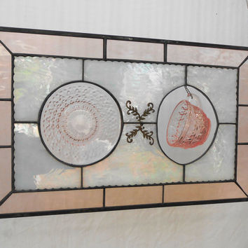 Pink Depression Glass Cup and Saucer Stained Glass Panel, Vintage Home Decor, Jeannette Holiday Button and Bows, Window Treatment, Valance