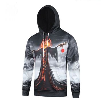 Autumn and winter men's Europe and the United States Digital Witch 3D printing hooded hedging long-sleeved sweater