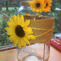 Gorgeous Rustic Country Sunflower Ball Jar Vase