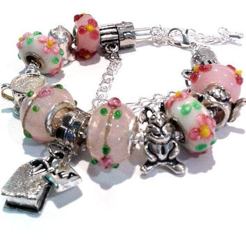 Tea Time Charm Bracelet - Alice in Wonderland - We are all mad here - Pink bracelet - Gift ideas for girls, little girls +3 - Pink