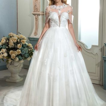Dressv ivory appliques beaded wedding dress A-line short sleeves court train button elegant tulle long wedding dress bridal gown