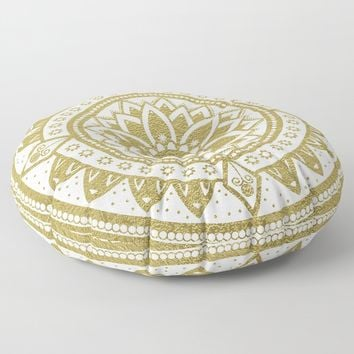 White & Gold Patterned Flower Mandala Floor Pillow by inspiredimages