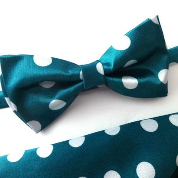Turquoise Green Bow Tie and Pocket Square Set, Wedding Bow Tie, Man Bow Tie, Mens Bow Tie, Polka Dot Bow Tie and Pocket Square Set