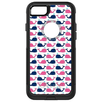 DistinctInk™ OtterBox Commuter Series Case for Apple iPhone or Samsung Galaxy - Pink Navy Cartoon Whales