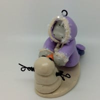 Christmas Ornament - Hippo - Snowman - Polymer Clay - Personalized