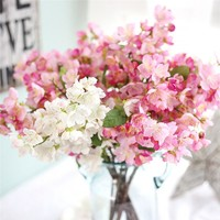 2017 new spring Artificial Fake Flowers Leaf Cherry Blossoms Floral Wedding Bouquet Party Decor hot sale on