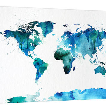 Watercolor Splash World Map Canvas Wall Art, Blue World Map Home Decor, No:050