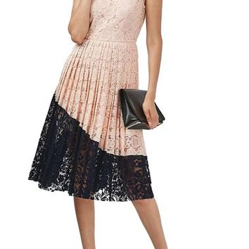 Topshop Colorblock Pleated Lace Midi Dress | Nordstrom