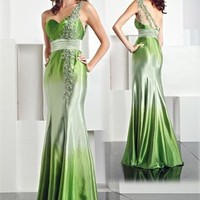 One Shoulder Mermaid Sweetheart Floor Length Satin Prom Dress PD0028