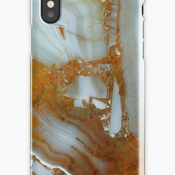 'Pearl and Golden Marble Gem Stone Pattern' iPhone Case by Quaintrelle