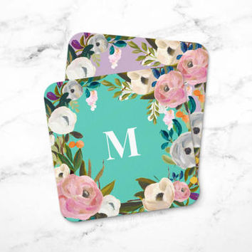 Drink Coasters, Monogrammed Coasters, Floral Coasters, Cork Coasters, Personalized Gift for Mom, Set of Coasters, Gift for Coworker