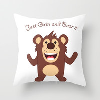 Just Grin and Bear it Throw Pillow by DanielBergerDesign