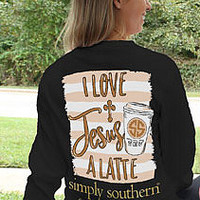 Simply Southern Love Jesus Alatte YOUTH - Black