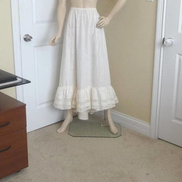 White Victorian Lace Trimmed Slip, Size Small, Bottom Ruffle, Can Be Worn As Skirt, Vintage Clothing, Steampunk, Turn of Century, Antique