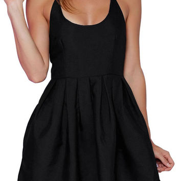 Black Strappy Back Cross Skater Mini Dress