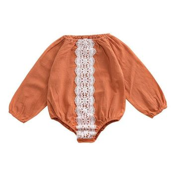 Mother nest 2018 Autumn Children's Clothing  Baby Girls Rompers Lace Long Sleeves Infant Pumpkin Color Clothes Cute Jumppsuit
