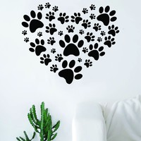 Dog Paw Print Heart Decal Sticker Wall Vinyl Decor Art Living Room Bedroom Animals Puppy Teen