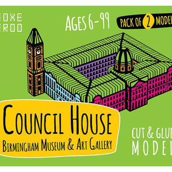 Birmingham Council House, Museum & Art Gallery || FoxeTroo Cut-Out Paper Model Kit for Kids || Pack of Two Models