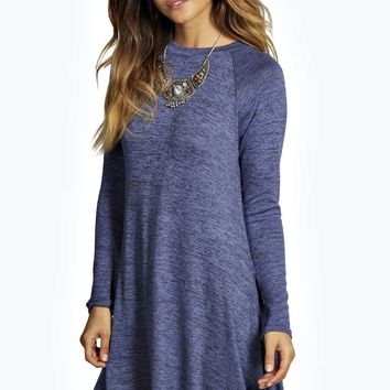 Zoe Marl Knit Turtle Neck Swing Dress