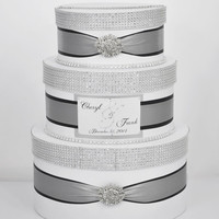 Card box / Wedding Box / Wedding money box - 3 tier - silver and black