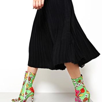 Floral Print Light Green Ankle Boots
