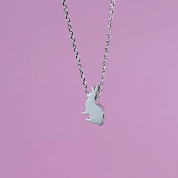 Shiny Bunny Necklace, Rhodium Plated Brass Pendant, Delicate Chain, Perfect Gif