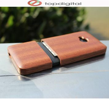 Felidio Natural Wood Case for HTC M7 Hard Case Back Cover for HTC One M7 Mobile Phone Shell Real Cherry Wood Bamboo Sapele
