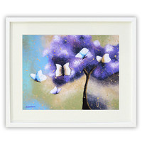 Inspirational Art Print, Tree of Life Giclee Print, Butterfly Art, White Butterflies Wall Decor, Purple Tree Art 11x14 Signed
