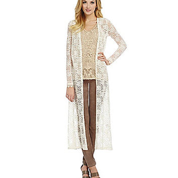 Chelsea & Violet Lace Duster Cardigan - Cream
