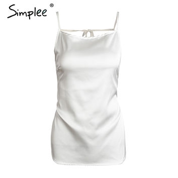 Simplee Black satin backless camisole tank top Casual black strap bow bustier camis streetwear Summer beach soft women tops