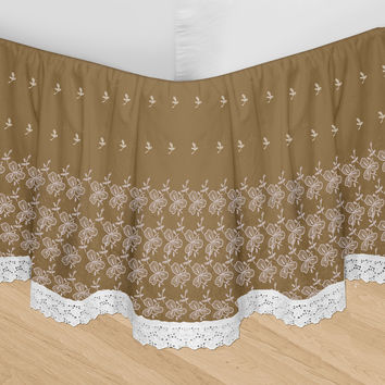 Veratex Decorative Bedding Set Huys-Embroidery Huys Bed Ruffle Queen Taupe