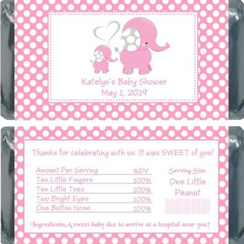 10 Pink Polka Dot Elephant Baby Shower Chocolate Bar Wrappers