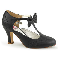 Pinup Couture Flapper Black T-strap Kitten Heels