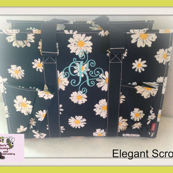 Daisy Print Navy Color Organizer,  Large  Organizer Tote Bag  perfect every Day Tote