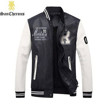2019 High Quality Embroidery Baseball Stand Jackets Pu Leather Male Men Coat Size M-4XL casaco masculino