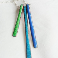 Three Strand Enamel Pendant Enamel on Copper Necklace Blue Green Necklace Pendant Artisan Enamel Necklace
