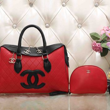 CHANEL Women Fashion Leather Satchel Shoulder Bag Handbag Crossbody Two Piece Set
