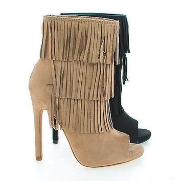 Gain By Delicious, Peep Toe Pleaded Fringe Zip Up Stiletto Heel Ankle Booties