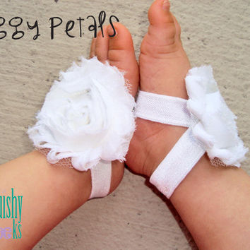 White Piggy Petals - ADORABLE Baby Barefoot Sandals Toe Blooms - Photo Props - Baptism - Flower Girls - Baby Shoes - Newborn Shoes