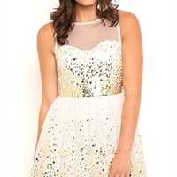 Dress with Illusion Neck and Back
