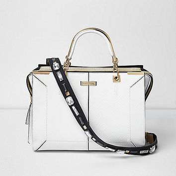 White embellished strap tote bag