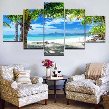 Wall Pictures For Living Room Decor Modular Maldives Islands Palm Tree Ocean Painting HD Printed 5 Piece Canvas Art Framework