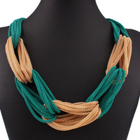 Color Block Multi Row Chunky necklace