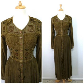 Maxi dress Olive Green Embroidered Hippie Bohemian Vintage 90s Indian Ethnic Festival Long Sleeve Button Up Gauze Medium Large