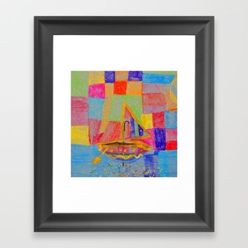 When an umbrella transforms into a boat on Christmas night Framed Art Print by Azima