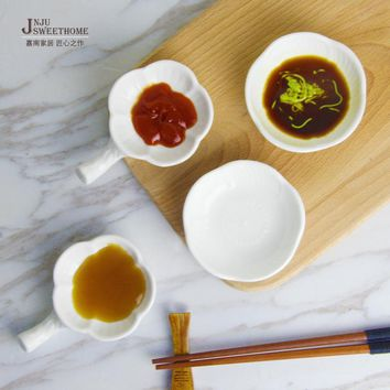 3 Pcs set Small Creative Flower Shape Ceramic Soy Sauce Dish With Handle Canape Porcelain Saucer Dipping Dish Plate tableware