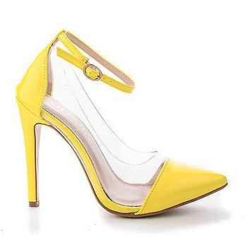 Olga1A Yellow Patent By Liliana, Yellow Patent Pointy Toe Lucite Clear Ankle Strap Stiletto Pumps