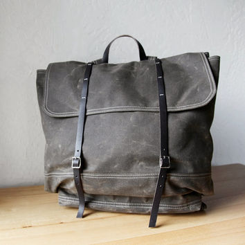 The Rucksack // Backpack  in Raw Cocoa Waxed Canvas by infusion