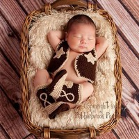 New baby clothing cowboy Knitting Handmade infant hat baby Knit crochet set vest and